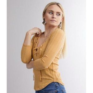 Free People Ice Cold Lace Up Yellow Knit Top
